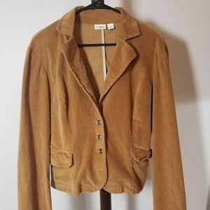 Camel Color Cord Cropped Fall Jacket by Cato